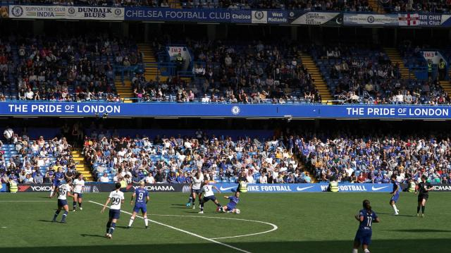 Almost 25,000 spectators watched Chelsea beat Tottenham in the Women's Super League at Stamford Bridge PA
